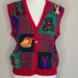 Jennifer Moore Christmas Hand Knit Sweater Vest